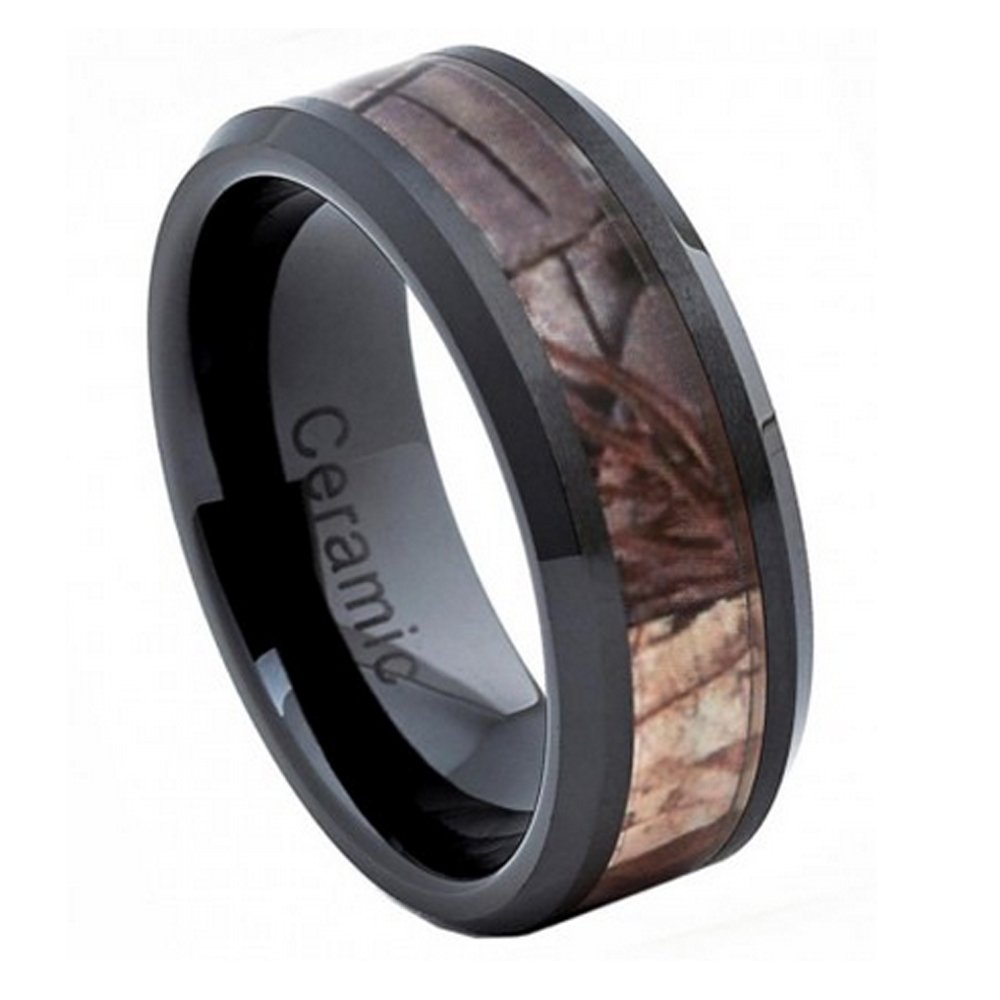 8mm Black Ceramic Wedding Band Ring High Polish with Forest Floor Foliage Camo Inlay Beveled Edge (10)