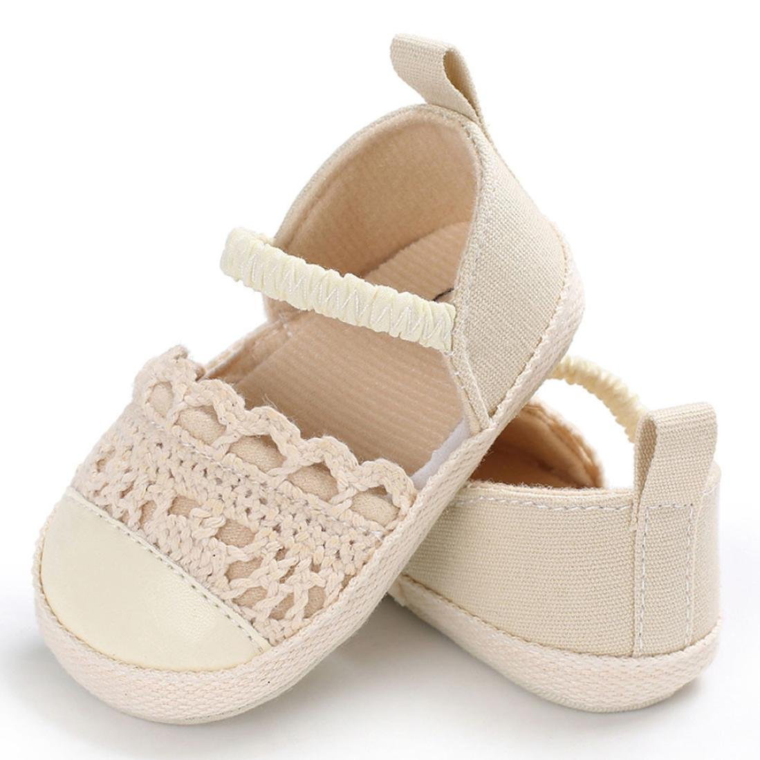 Voberry Baby Girl Handmade Knit Cloth Soft Sole Prewalker Shoes Sandals
