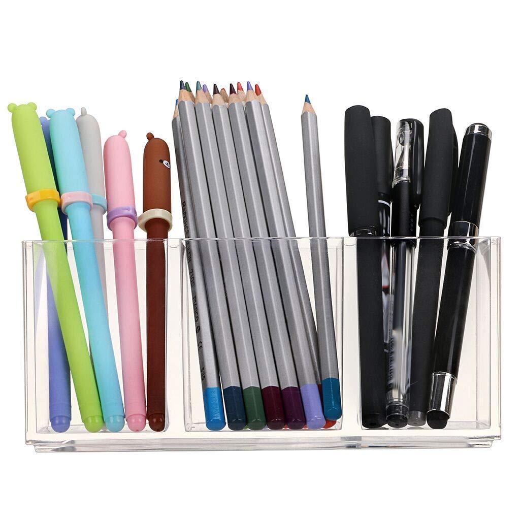 Portapenne in acrilico trasparente a 3 scomparti Finewlo accessori da scrivania Style02 organizer da scrivania per ufficio cancelleria