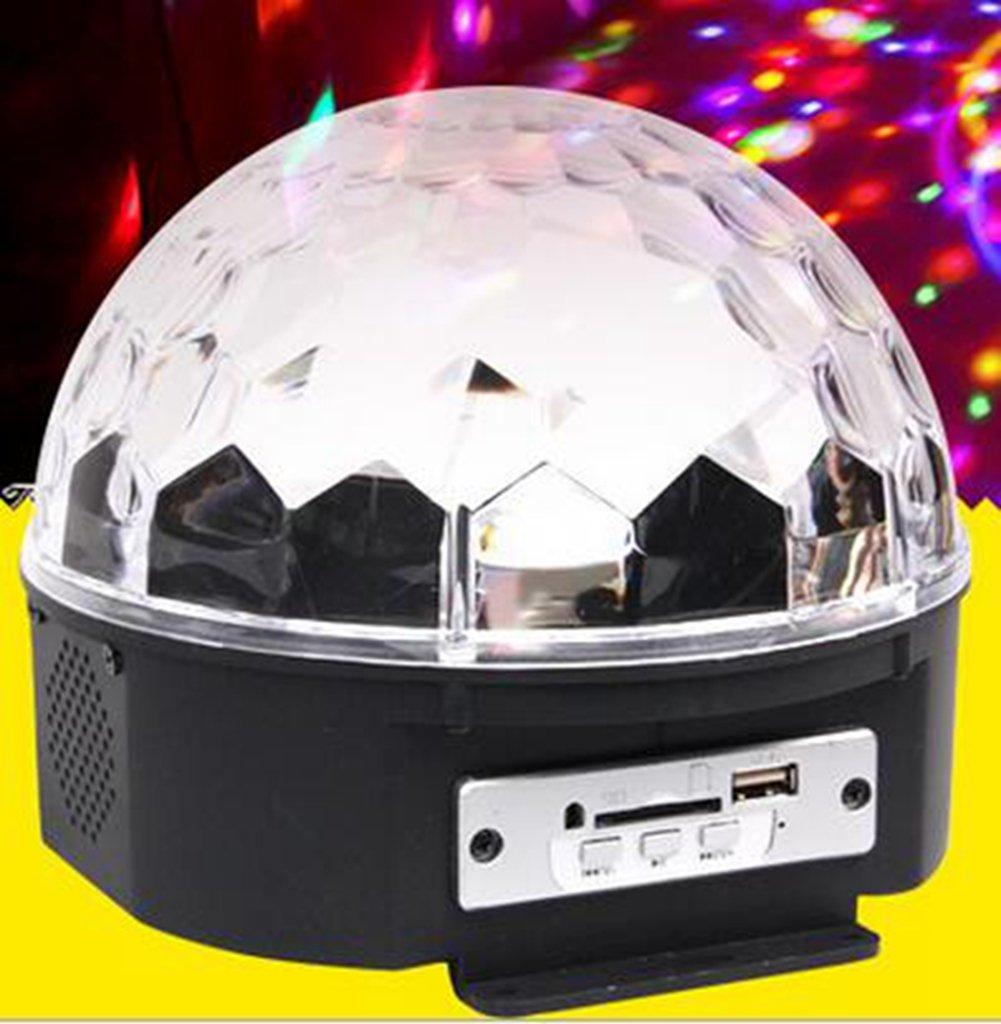 ETbotu 9 Color Mp3 Crystal Magic Ball 6 Color Rotating Strobe Disco Stage Christmas LED RGB Ball Light & Remote Control