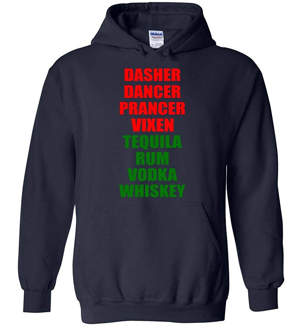TSHIRTAMAZING Dasher Dancer Prancer Vixen Tequila Alcohol List Hoodie