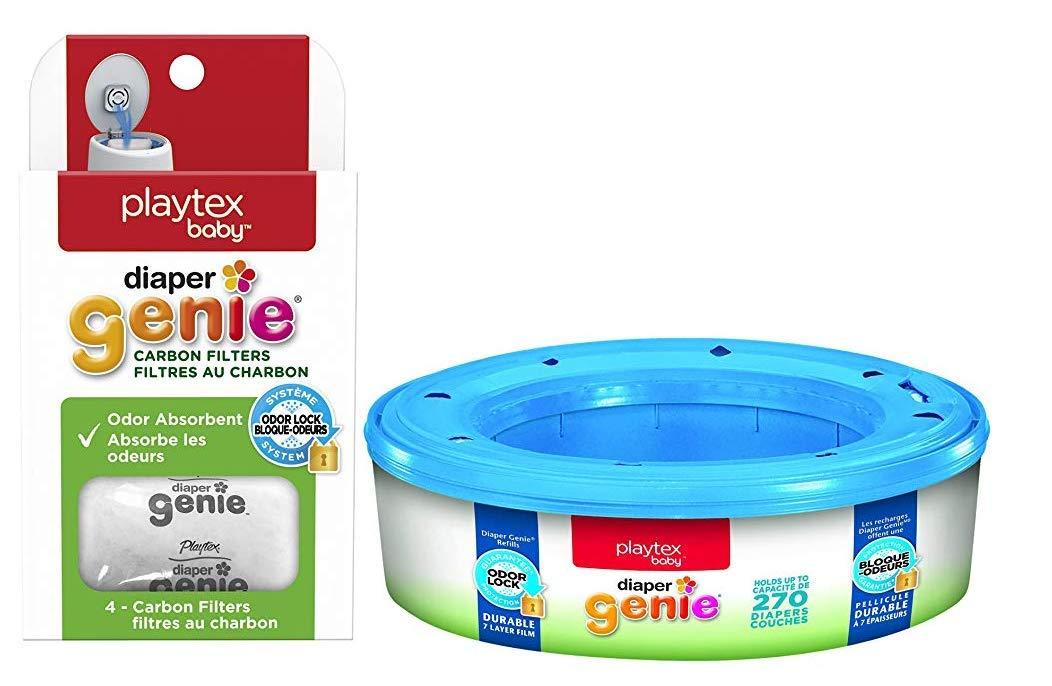 Playtex Diaper Genie Bundle with Playtex Diaper Genie Refill and Carbon Filters 4 Count, for Playtex Diaper Genie Pails