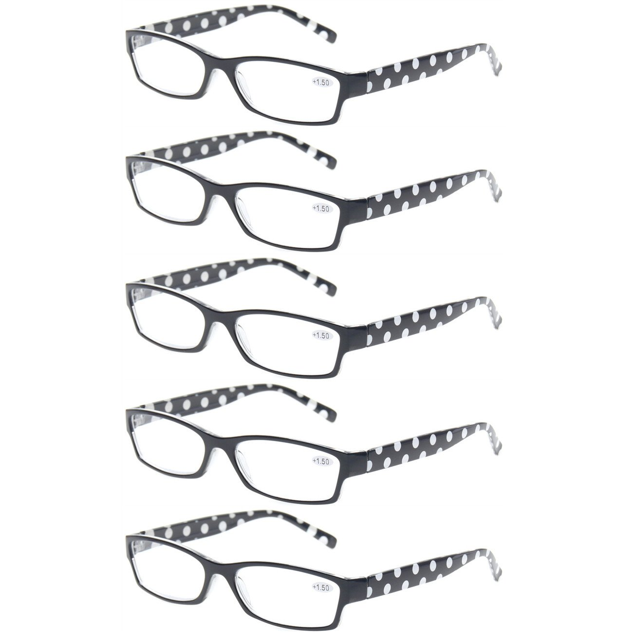 Reading Glasses 5 Pack Great Value Ladies Readers Quality Fashion Glasses for Women (5 Pack Black, 2.75) by Kerecsen