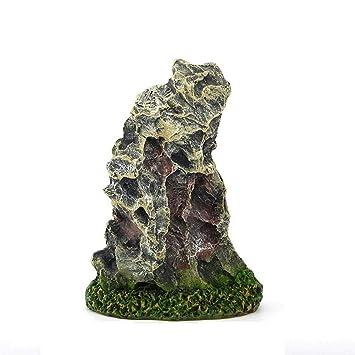 Haodou 1 Piezas Mountain View Acuario Rockery Ocultar Ornamento del Tanque de Pescados del árbol Paisajismo Decoración(Gris): Amazon.es: Productos para ...