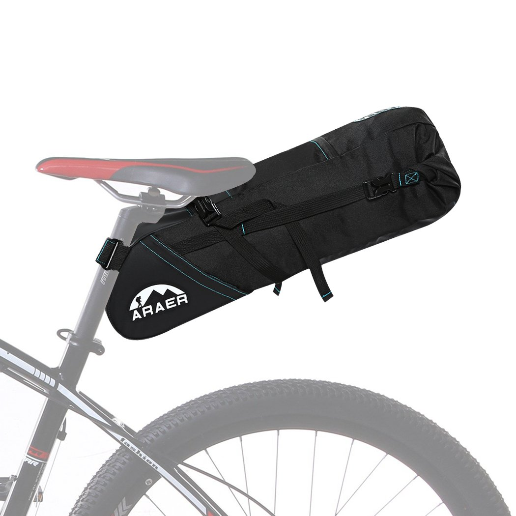 ARAER Bike Saddle Bag, Large Capacity:10L, Safe Reflective Stripes, Strap-on, Foldable/Rollable, Bicycle Seat Storage Bag for MTB, Road/Mountain Bike, Necessary Cycling Accessories