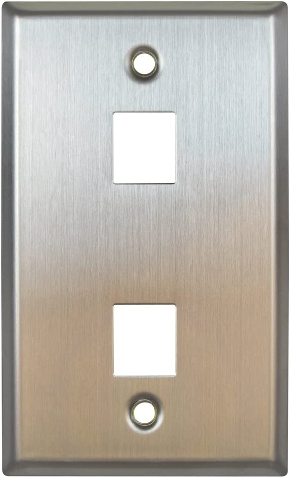 2 Ports Versatap Faceplate Allen Tel Products ATBKF-VT-2 Single Gang Stainless Steel