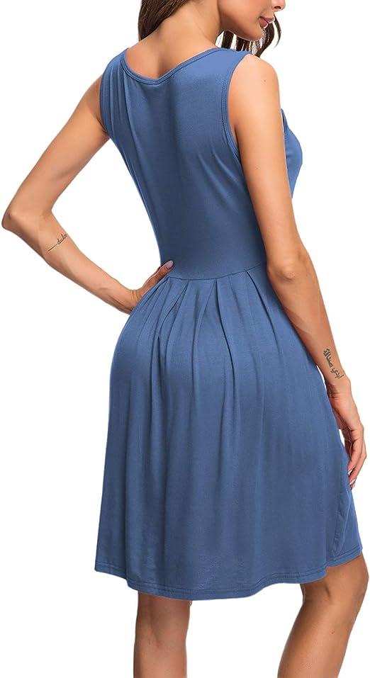 AUSELILY Damen /ärmelloses Plissee-Loose-Swing-Freizeitkleid mit knielangen Taschen.