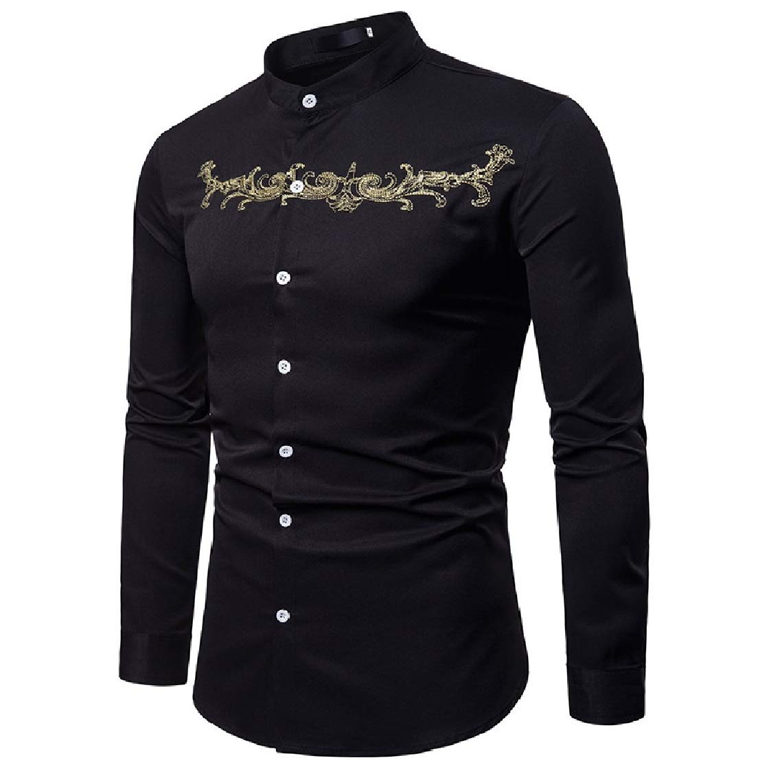 YUNY Mens Stand Collar Court Style Long Sleeve Casual Embroidered Western Shirt Black L