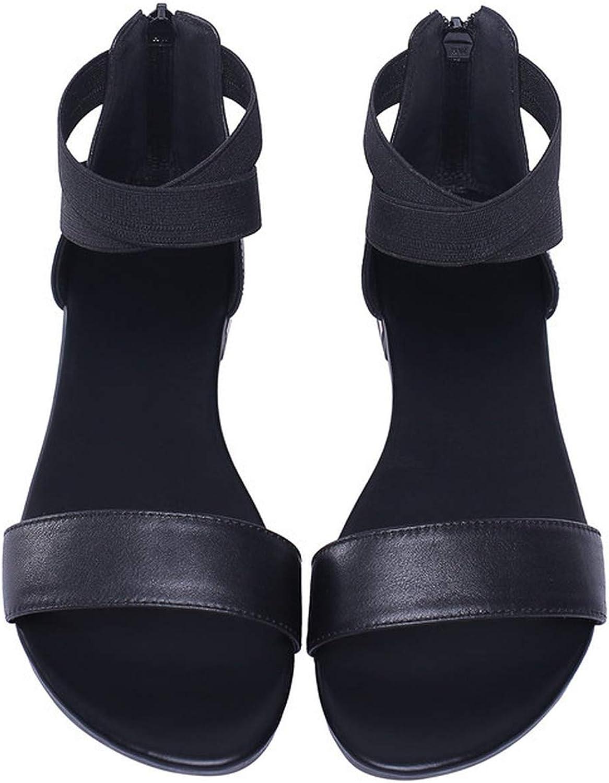 Women Sandals Black Casual Shoes Female Zipper Summer Flat Sandals Woman Beach Shoes,Black,11