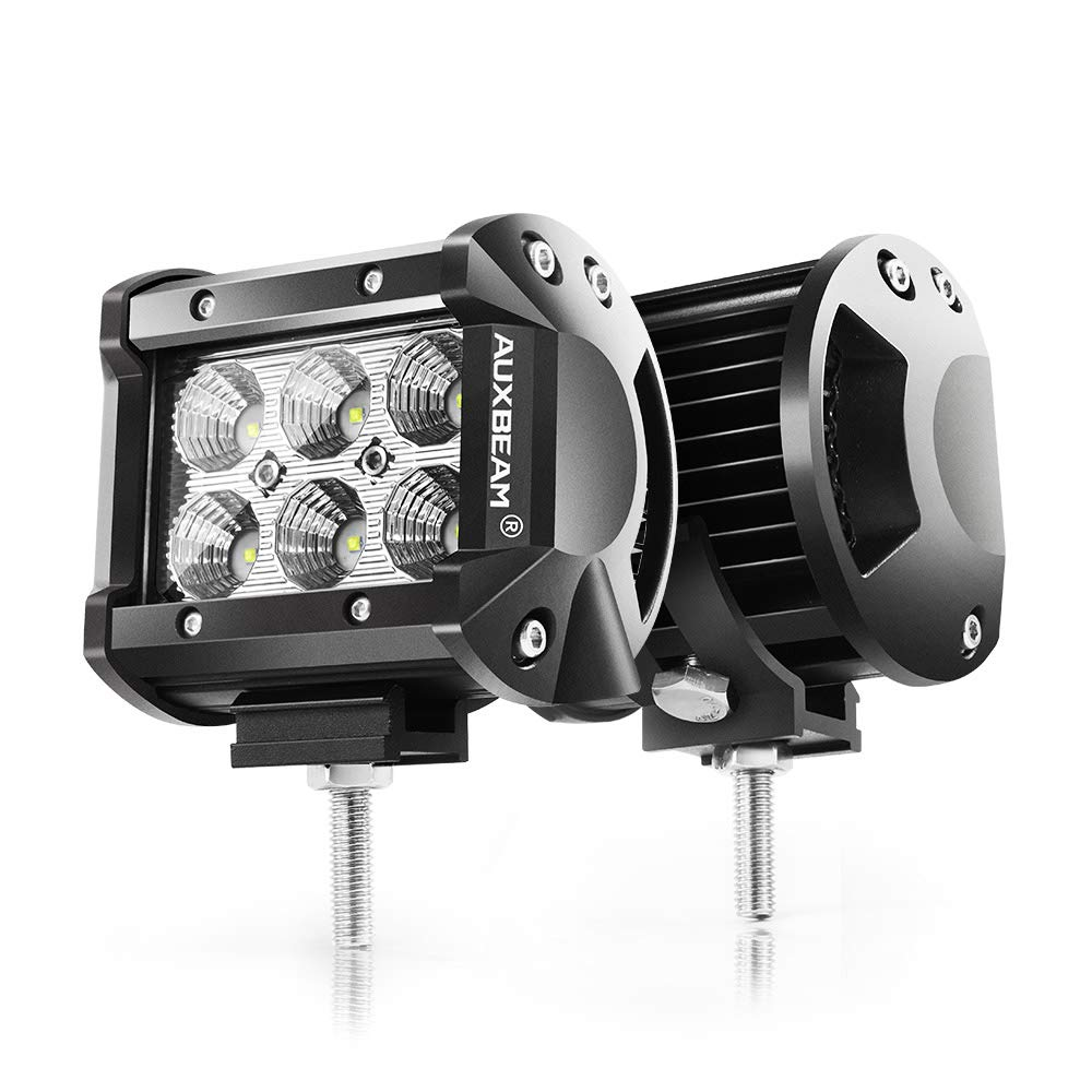 "Auxbeam-4"" LED Pods 18W Flood LED Light Bar 1800lm Driving light Off Road Lights for SUV ATV UTV Trucks Pickup Jeep"