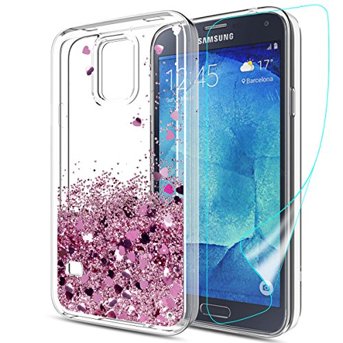 S5 Case,Galaxy S5 Case with HD Screen Protector,Slook Moving Liquid Sparkly Shiny Glitter Bling Luxury Girl Cute Clear TPU Shockproof Protective Phone Cover Case for Samsung Galaxy S5 LS Rose Gold