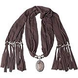SUMAJU Scarf Necklace, Shawl Necklace Scarves Pendant Long Resin Fabric Flower Little Rhinestone