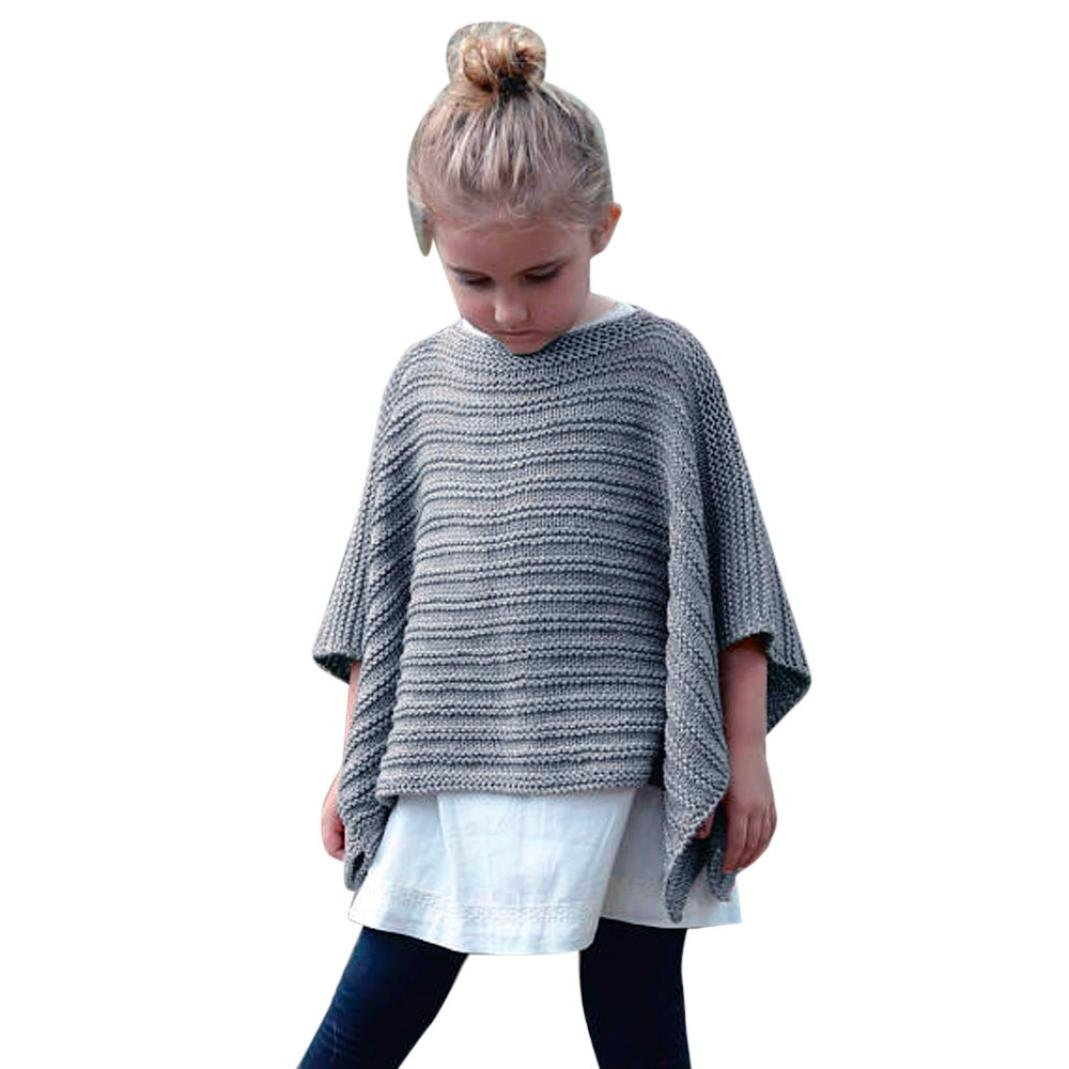 Knitwear, Byste Baby Girls Outfit Knitted Sweater& Shaw& Cloak& Scarf, Gray, 4-9T B005