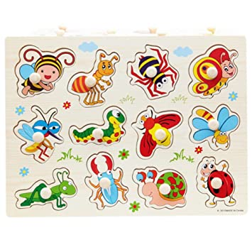 060f23661d5e BOBORA Puzzles Infantiles de Madera Juegos Juguetes Educativos de Aprendizaje  Juguete Rompecabezas de Madera para Niños Pequeños de 1 Año (Insectos): ...