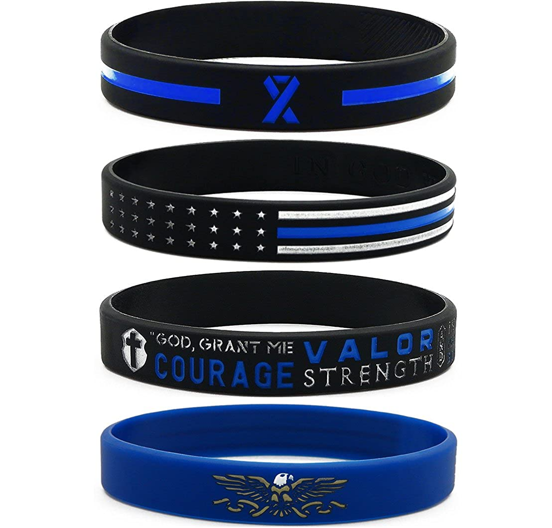 Inkstone Thin Blue Line Silicone Wristband Set with Policeman's Prayer and American Flag - Law Enforcement Jewelry for Police Officers