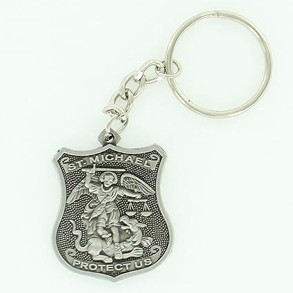 Amazon com : St  Michael Police Shield Key Chain Antique