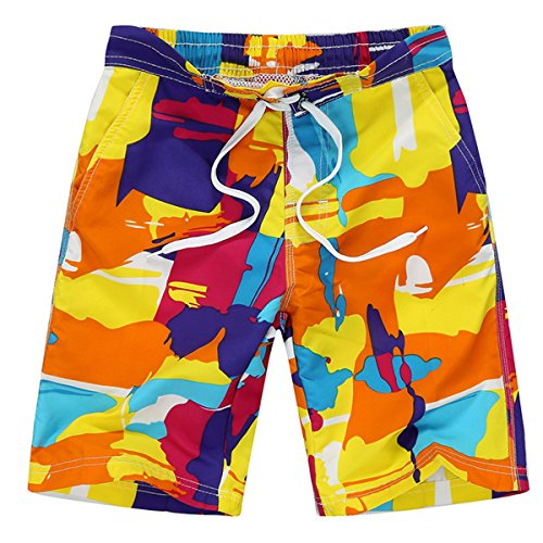 Tailor Pal Love Boy's Quick Dry Swim Trunks Cargo Water Shorts with Mesh Lining Breathable Boardshorts Beach Colorful Shorts Yellow and Orange ()