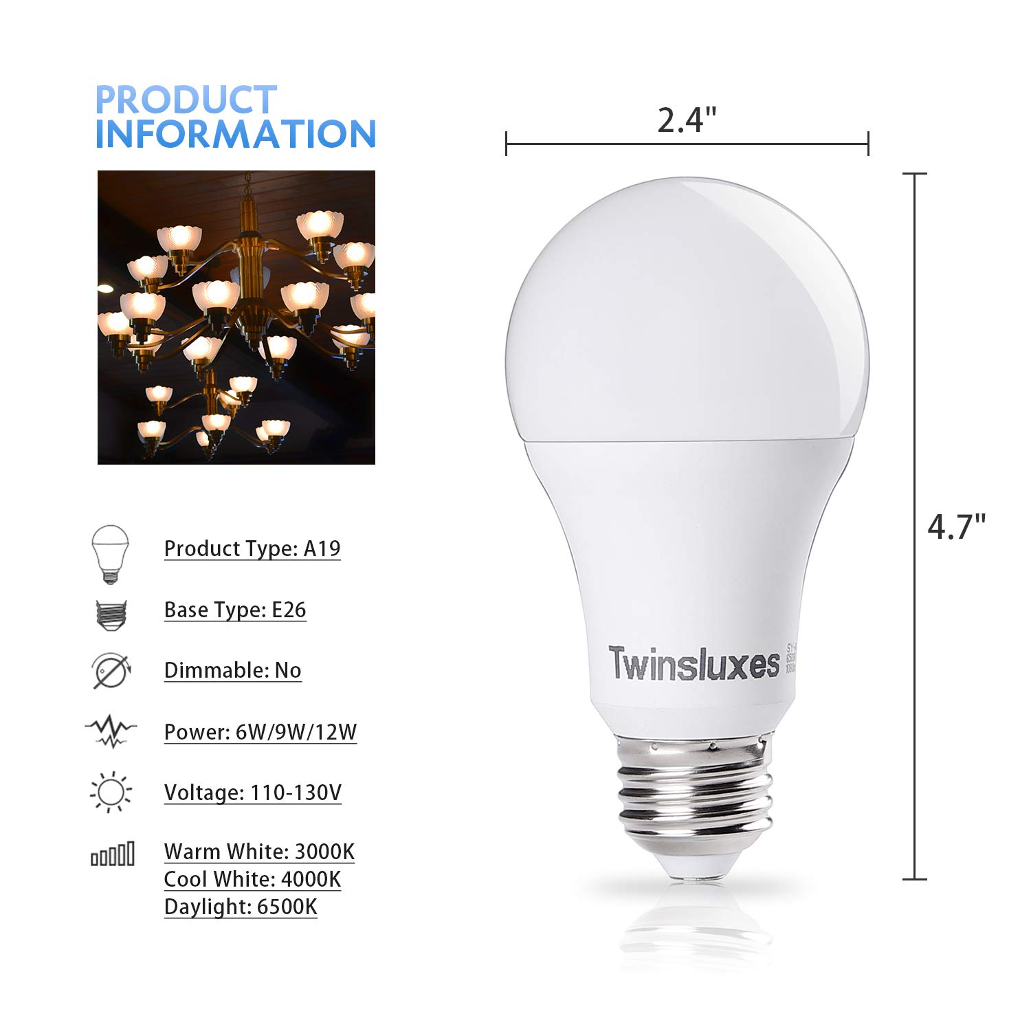 Non-Dimmable LED Light Bulbs 9-watt (60 watt Equivalent) 810 lm, Warm White (3000k), E26 Base, A19