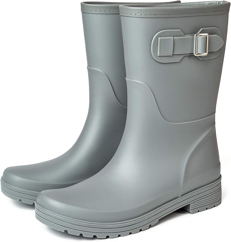 VOL Womens Rain Boots High Performance Waterproof Non-Slip Elastic Adjustment Shoes