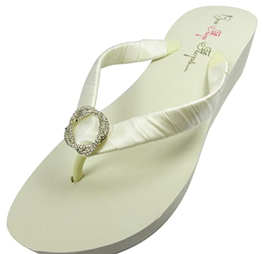c0e3ee18d4915 Amazon.com  Bridal Flip Flops Wedding Ivory Wedge White Platform Bride  Jewel Heel Satin Rhinestone Flip Flops  Handmade