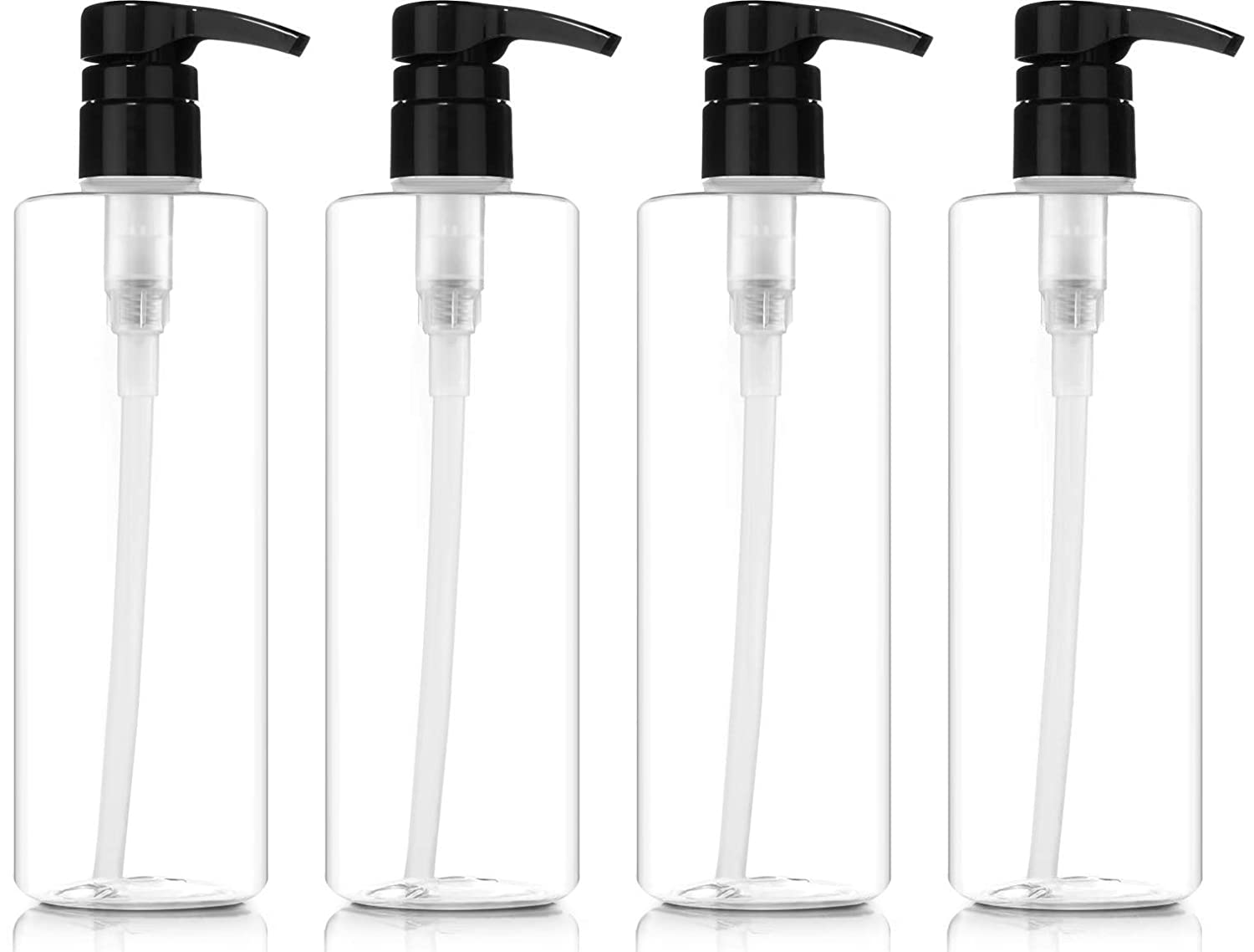 Pump Bottles for Shampoo 16oz, BPA-FREE, Plastic Cylinder with Lock-down LEAK PROOF Pumps (Pack of 4)