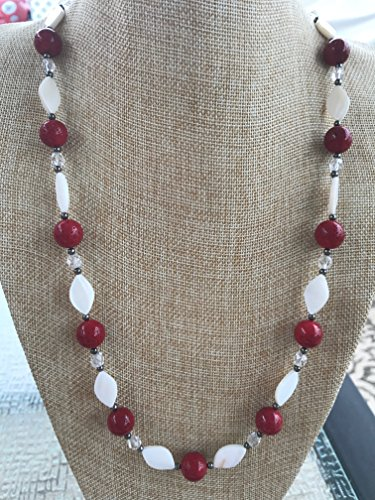 Red Sponge Coral, White Mother of Pearl Shell, and Clear Czech Glass Handmade Long Necklace with Black Metal Beads