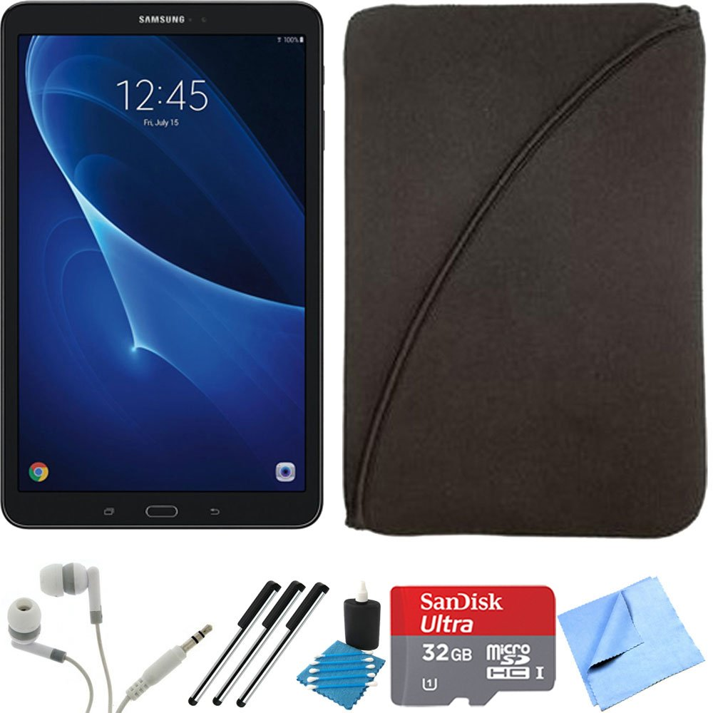 Samsung Galaxy Tab A 16GB 10.1-inch Tablet 32GB Card Bundle includes Tablet, 32GB microSDHC Memory Card, 3 Stylus Pens, Protective Sleeve, Metal Ear Buds, Cleaning Kit and Microfiber Cleaning Cloth