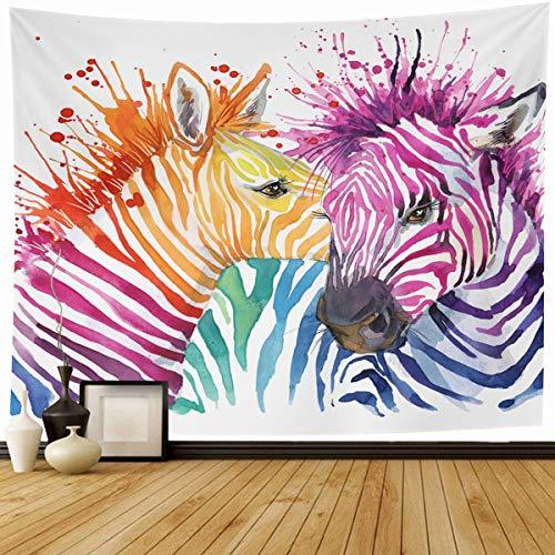 (Ahawoso Tapestry Wall Hanging 90x60 Child Funny Zebra Splash Watercolor Rainbow Wildlife Horse Paint Cute Wild Home Decor Tapestries Decorative Bedroom Living Room Dorm)