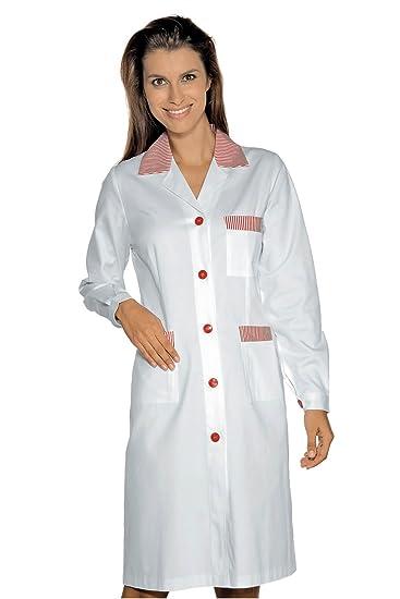 Isacco-Bata De Trabajo Positano Manga Larga, Color Blanco, 100% algodón, diseño De Rayas, Color Rojo: Amazon.es: Ropa y accesorios