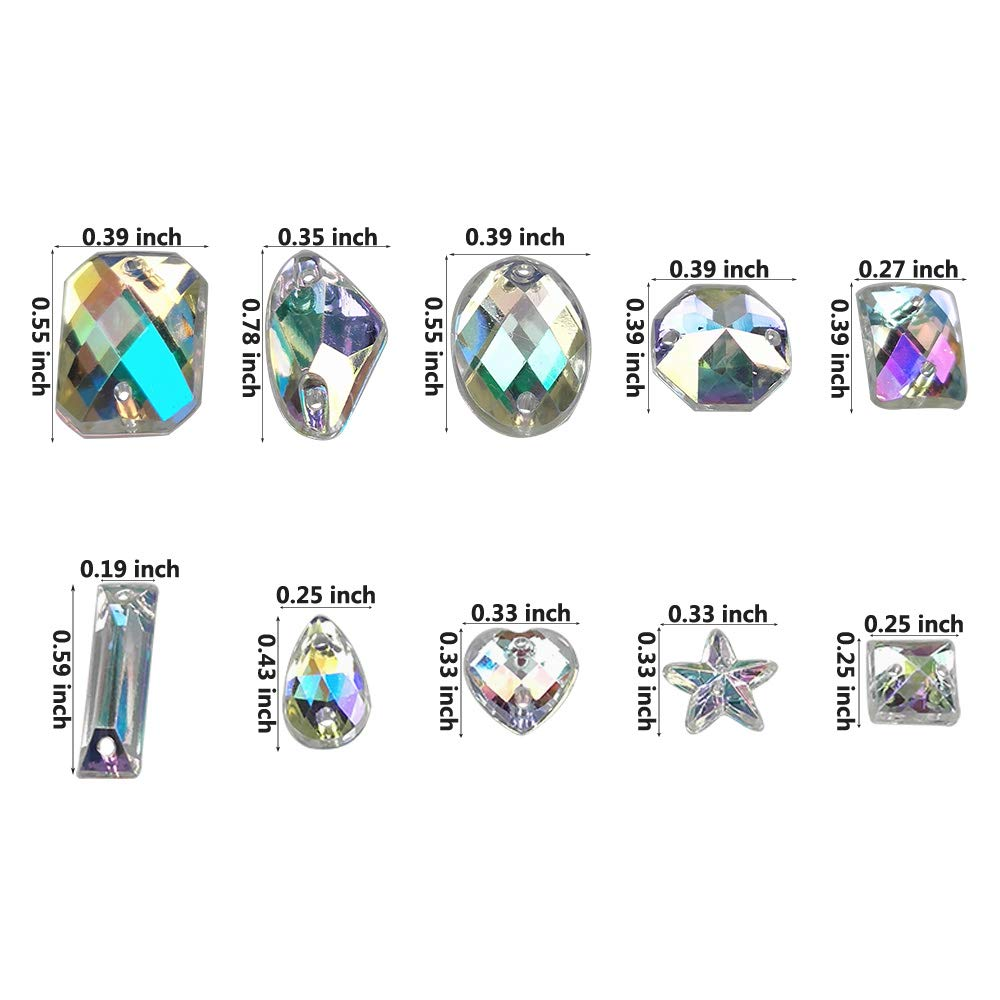 200PCS AB Acrylic Sew on Diamante Rhinestone Flatback Crystal Buttons Gems 10 Styles for DIY Crafts Clothing Wedding Dress Decoration by SkyCooool