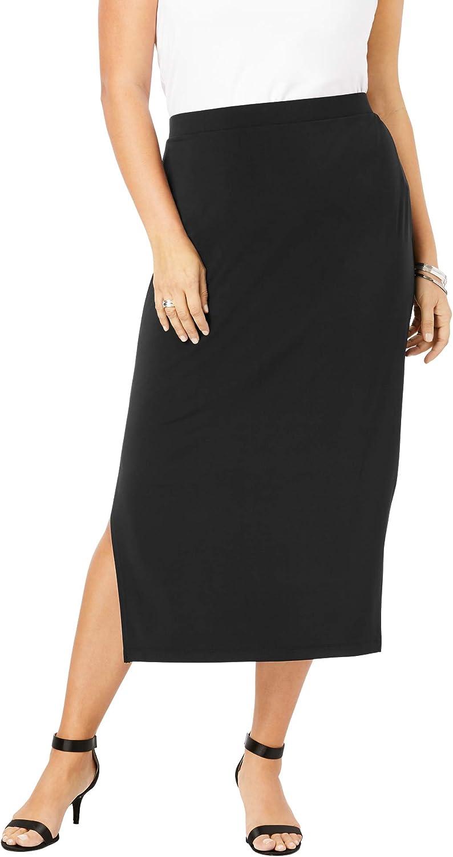 Roamans Women's Plus Size Side-Slit Pencil Skirt