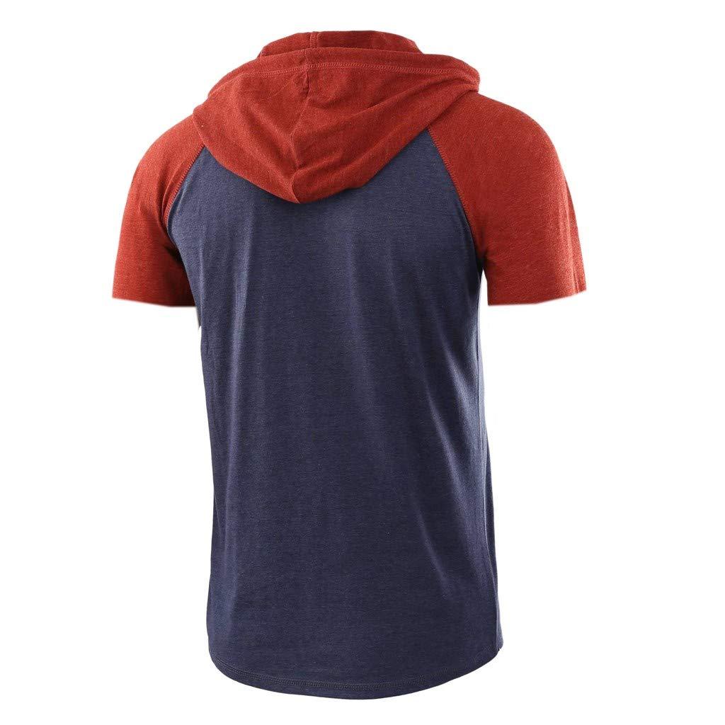 Swyss Mens Casual Lightweight Short Sleeve Raglan Henley Jersey Hoodie Shirt Colorblock Drawsting T-Shirt Tops