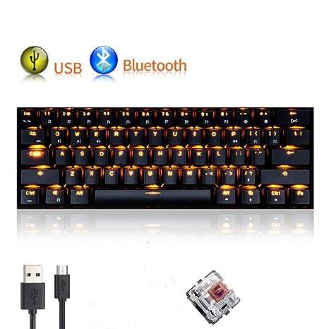UrChoiceLtd Teclado Mecánico, rk61 con cable/inalámbrico Bluetooth teclado 61 teclas LED Impermeable Teclado