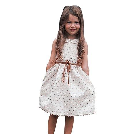 Feixiang Vestido de Las niñas sin Mangas Collar de la muñeca Vestido de Princesa Falda Fiesta