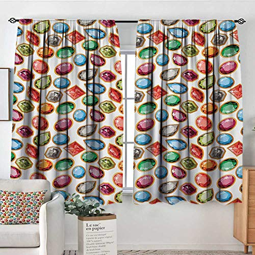 - Diamond Patterned Drape for Glass Door Diamond Patterns Different Type of Forms Facets Square Oval Triangle Topaz Illustration Waterproof Window Curtain 55