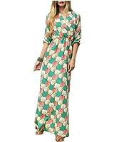 LadyCaca Fashion V meia manga impressão vestido longo mulheres casual estilo russa vestidos