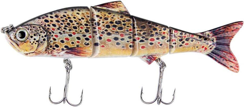 Kastwill Se/ñuelo Pesca Artificial Duro 15 cm 37g Wobbler Flotante Multi-Segmentos Swimbait Siluros Bass Lubina Se/ñuelo para Pesca Spinning con 2 Tri/ángulo Ganchos