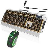 Zenoplige Tastiera Meccanica Retroilluminata LED Arancia Sensazione di Gioco, Tastiera USB Gaming Keyboard Via Cavo per PC Games Ufficio (Retroilluminazione Arancia ). Tastiera + Mouse