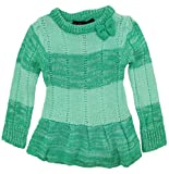 Dollhouse Baby Girls Ruffeled Pointelle Knit Cardigan Sweater with Bow, Green, 12 Months