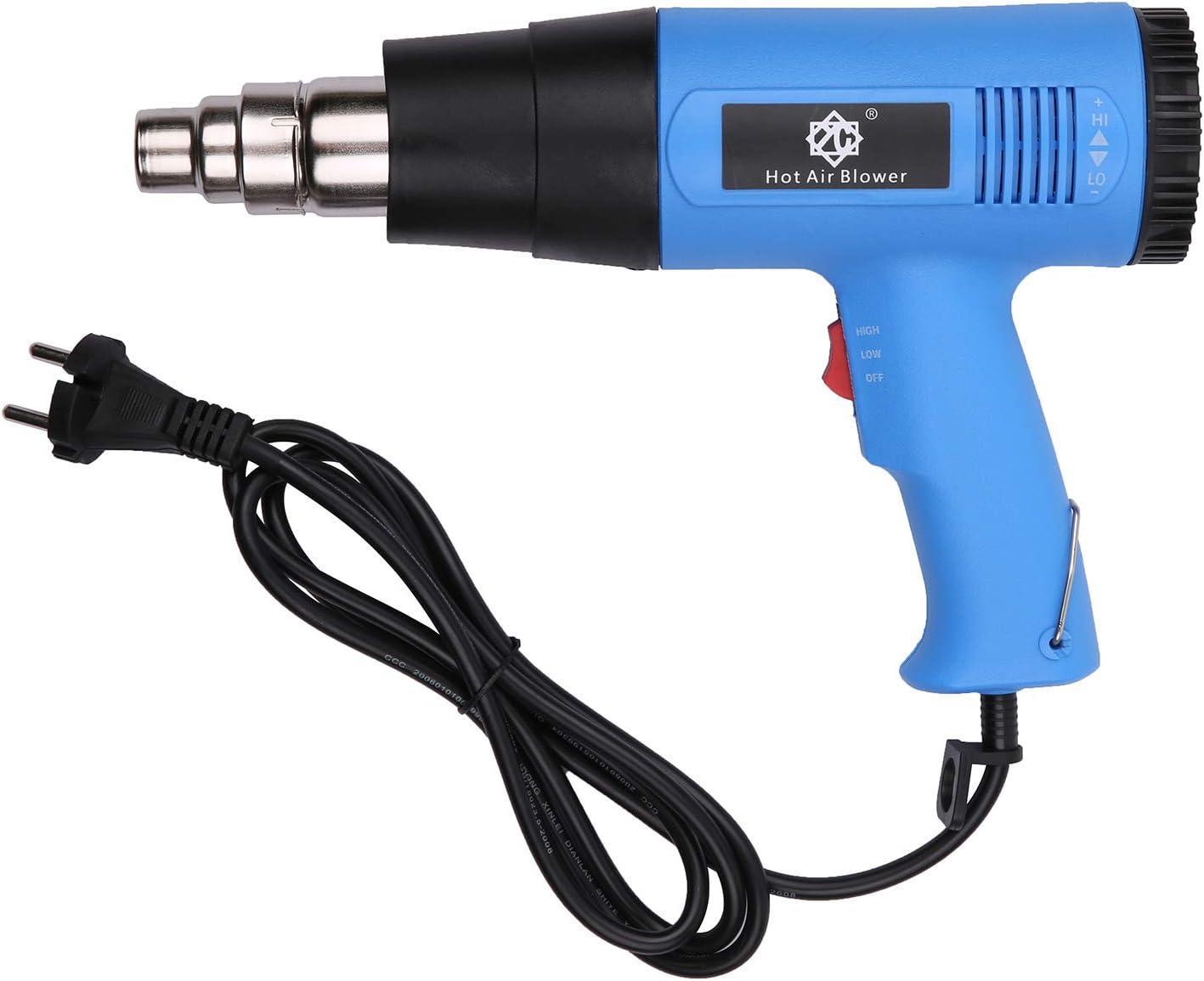 Pistola de calor de 2000 W Pistola de aire caliente eléctrica profesional Calentamiento rápido Temperaturas variables con 2 ajustes de temperatura Boquilla cónica 140 ℉ ~ 1112 ℉ para soldar Pin