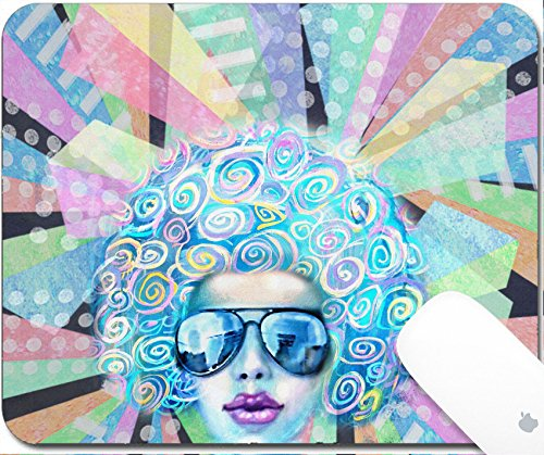 Luxlady Gaming Mousepad 9.25in X 7.25in IMAGE: 43578647 Pop art design Nightflyer discotheque Party invitation Summer saturday lounge retro night Disco club girl in sunglasses standing on a - Sunglasses Price Funk