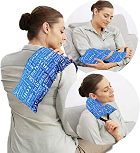 Hot Pockets All Purpose Microwavable Rice Heating Pad for Neck and Shoulders Pain Relief - 3 Pockets Hot and Cold Pack of Rice Bags for Heat Therapy with Washable Cover - American Brand (Blue Words)