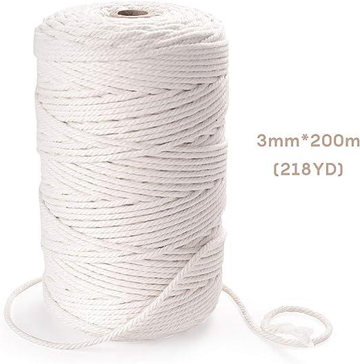 EKKONG Cuerda algodón, Cuerda Trenzada de algodón Natural de 3 mm ...