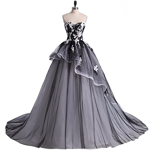 Yuxin Vintage Black White Lace Ball Gown Wedding Dresses Strapless