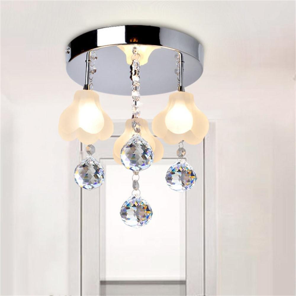 TOYM US Modern Simple Entrance Aisle Corridor Crystal Ceiling Lamp Balcony Hall Bedroom Lamp Floating Window Flower Lights (Color : 3 head)