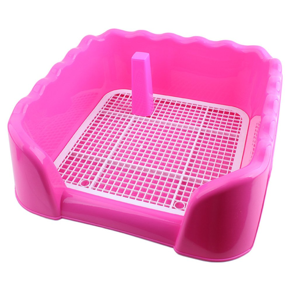 Be Good Pet Litter Box with Fence Portable Indoor Outdoor Dog Toilet Dog Training Tray with Vertical Pillar Plastic Potty Training Holder for Puppies and Small Pets Rose Red