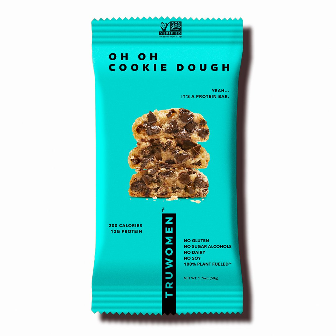 TRUWOMEN Plant Fueled Protein Bars, Oh Oh Cookie Dough (12 Count) | Non-GMO, Vegan, Gluten Free, Kosher, Soy Free, Dairy Free, Healthy Snack Bar, Natural Ingredients | 12g Protein by TRUWOMEN