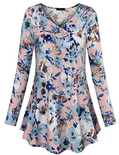 Shirred Leggings (Laksmi Ladies Tops For Leggings, Shirred V Neck Perfect Printed Tunic Loose Casual Jersey Pullover Shirts,Multicolor Pink X-Large)