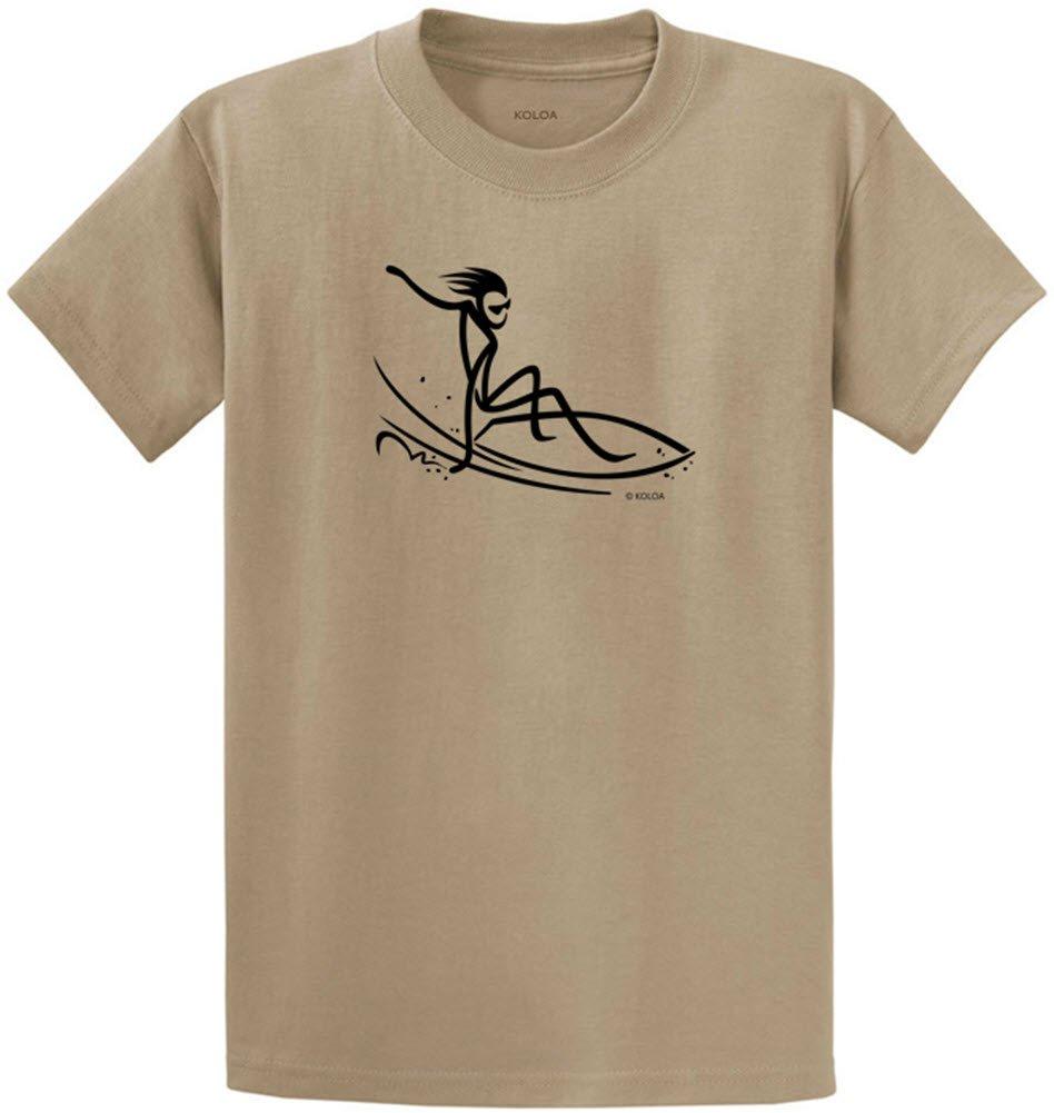 Joe's USA Koloa Surf カスタムグラフィック重量系コットンTシャツ レギュラー、ビッグ、トール B071J6YWCF 4L,Dusty Brown With Black Surfer Dude Logo
