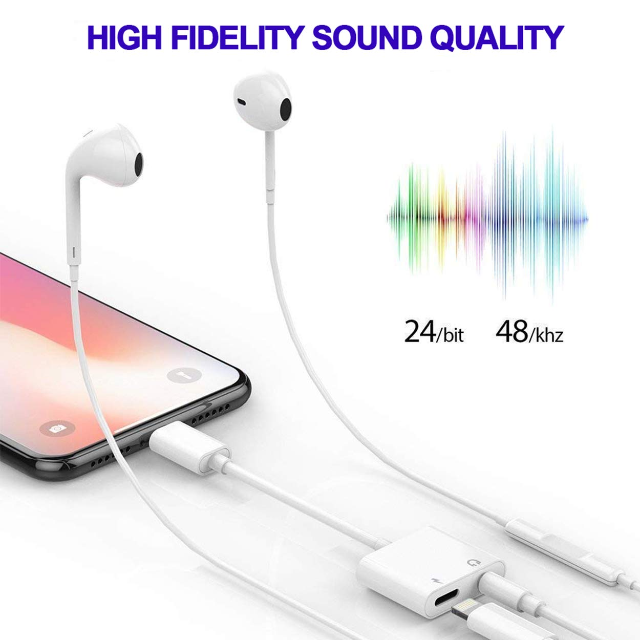 for iPhone Adapter Jack Headphone Adapter for iPhone Dongle Aux Audio Cables Adaptor Headset Splitter Audio /& Charger /& Call /& sync Cable Accessory for iPhone Xs//Xs Max//XR// 8//8 Plus//X 10 // 7//7 Plus